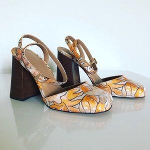 ASOS- orange + tan heels